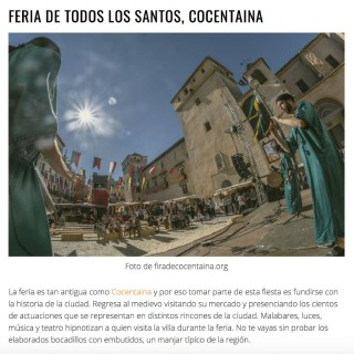 La Fira de Tots Sants elegida lugar turistico del otoño